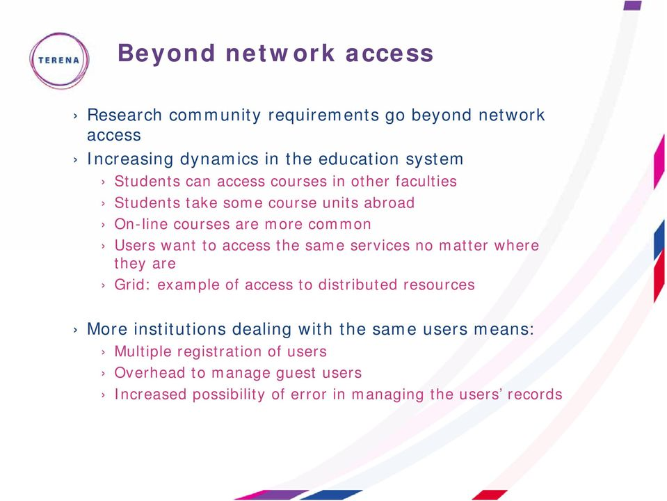 the same services no matter where they are Grid: example of access to distributed resources More institutions dealing with the same