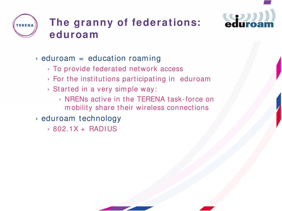 eduroam Started in a very simple way: NRENs active in the TERENA