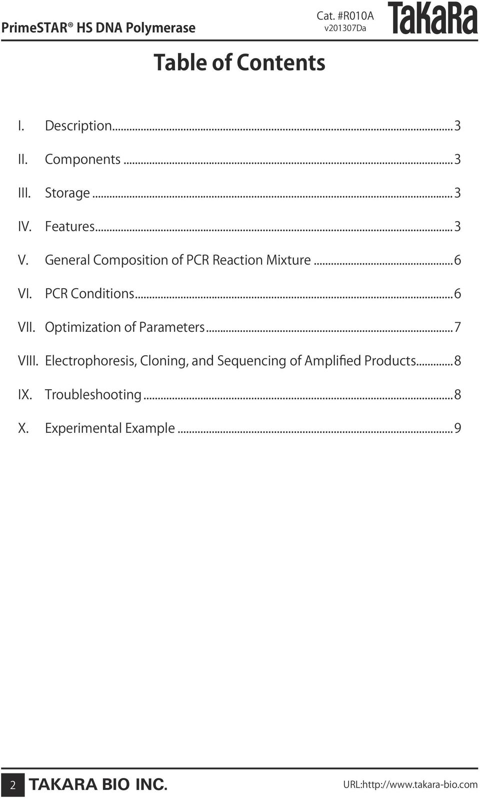 PCR Conditions...6 VII. Optimization of Parameters...7 VIII.