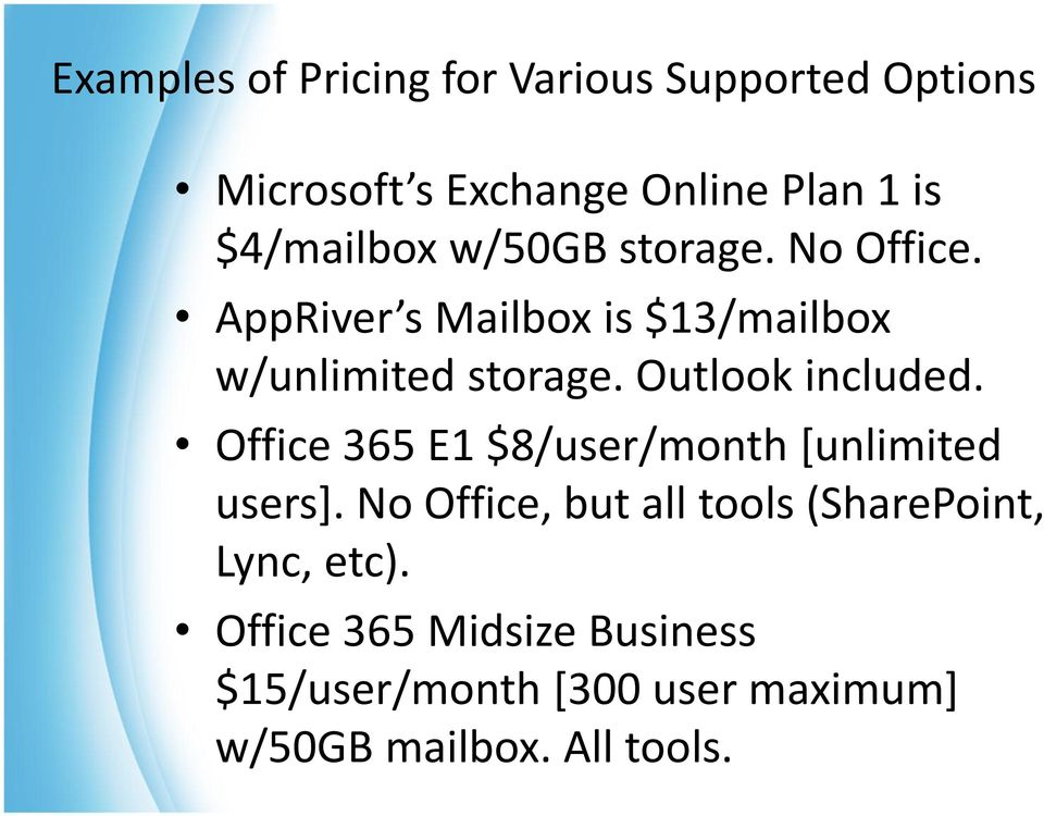 Outlook included. Office 365 E1 $8/user/month [unlimited users].