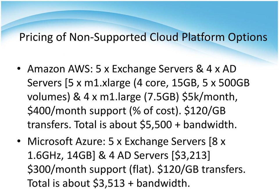$120/GB transfers. Total is about $5,500 + bandwidth. Microsoft Azure: 5 x Exchange Servers [8 x 1.