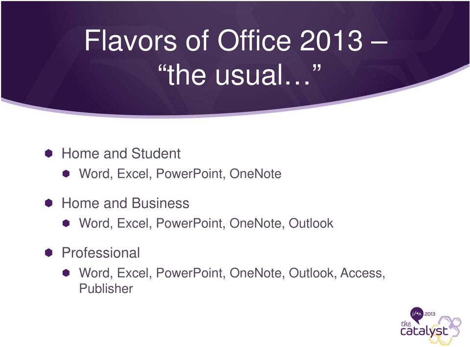 Word, Excel, PowerPoint, OneNote, Outlook