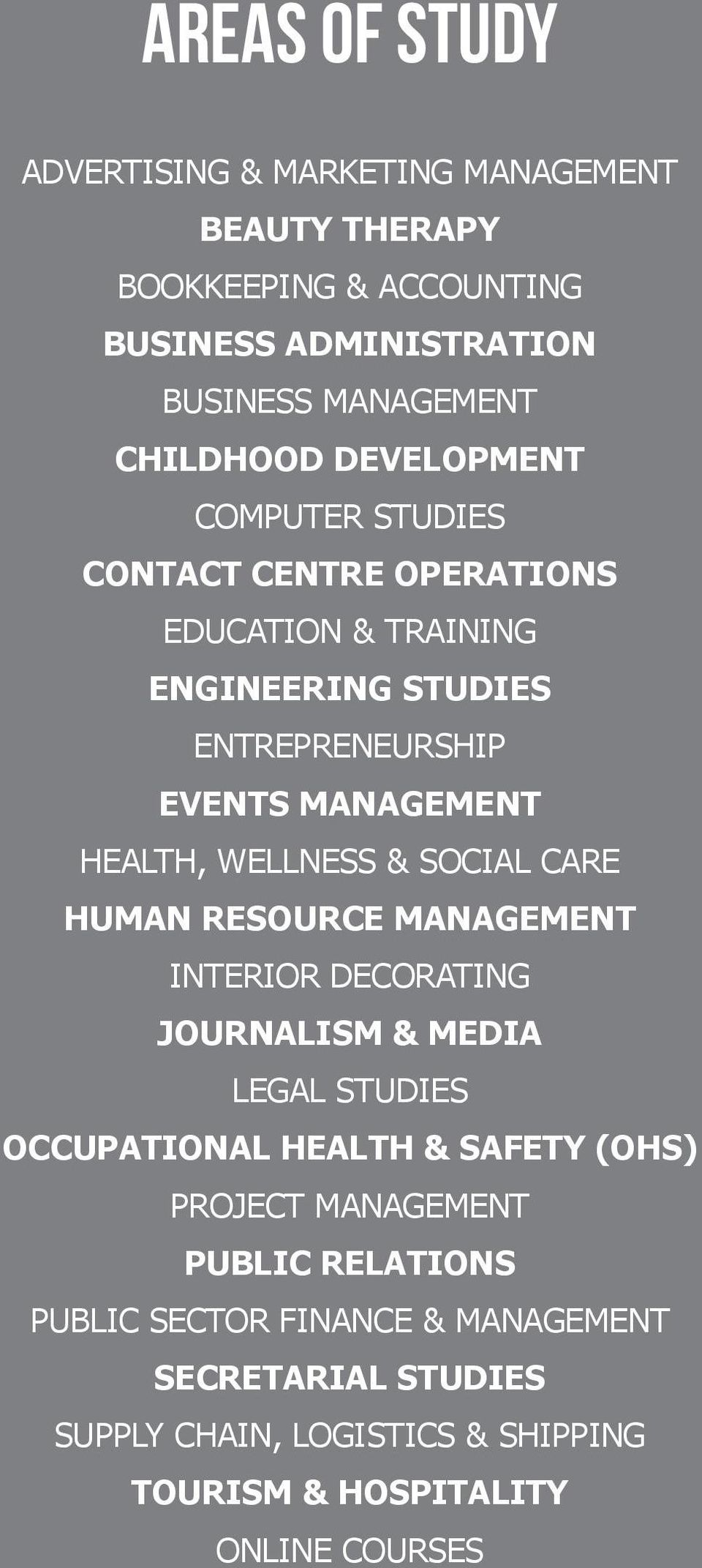 WELLNESS & SOCIAL CARE HUMAN RESOURCE MANAGEMENT INTERIOR DECORATING JOURNALISM & MEDIA LEGAL STUDIES OCCUPATIONAL HEALTH & SAFETY (OHS) PROJECT