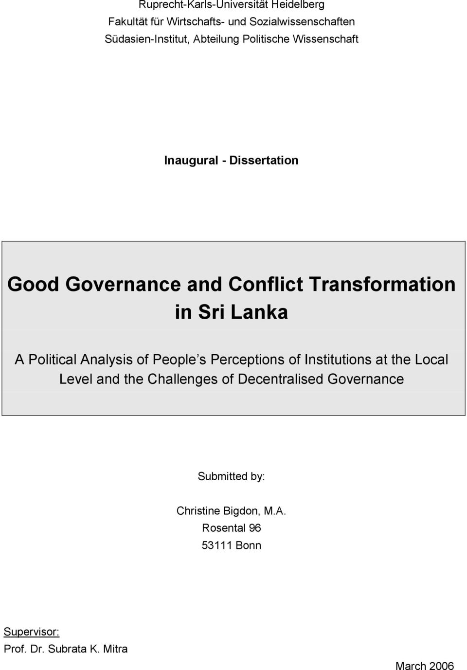 Lanka A Political Analysis of People s Perceptions of Institutions at the Local Level and the Challenges of