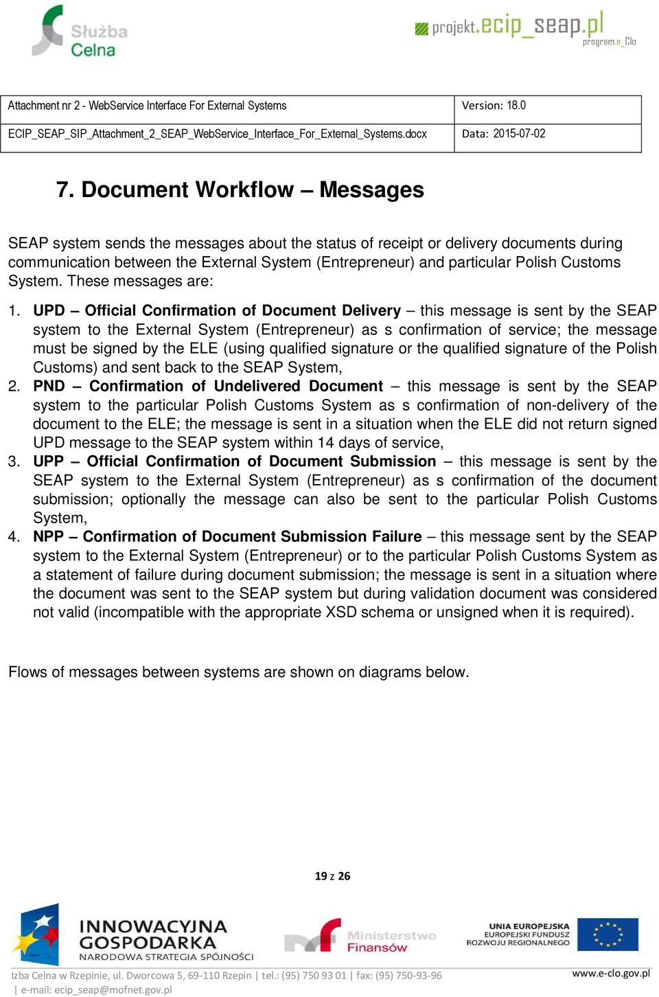 UPD Official Confirmation of Document Delivery this message is sent by the SEAP system to the External System (Entrepreneur) as s confirmation of service; the message must be signed by the ELE (using