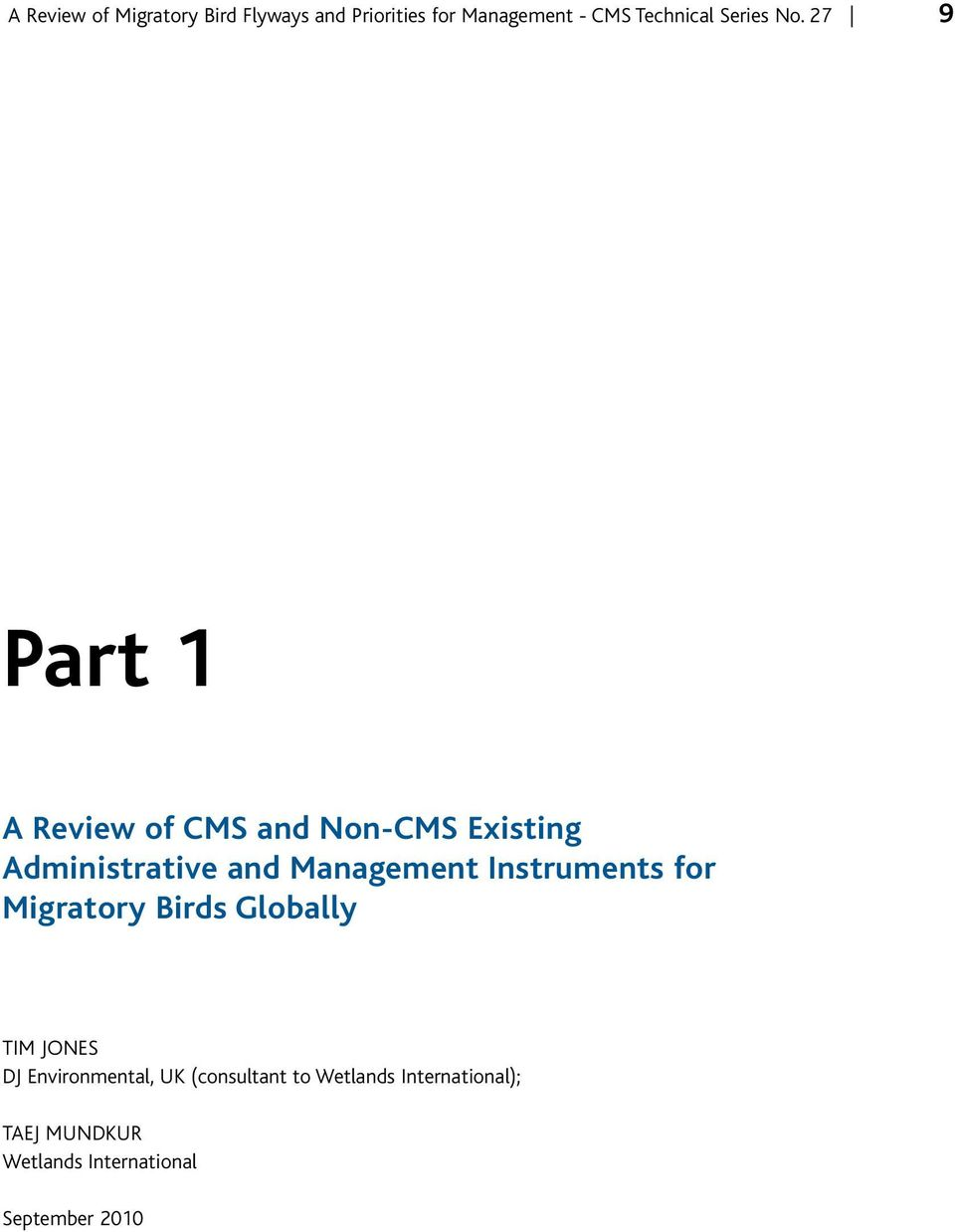 27 9 Part 1 A Review of CMS and Non-CMS Existing Administrative and Management