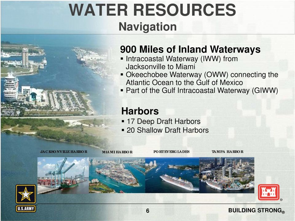 the Gulf of Mexico Part of the Gulf Intracoastal Waterway (GIWW) Harbors 17 Deep Draft
