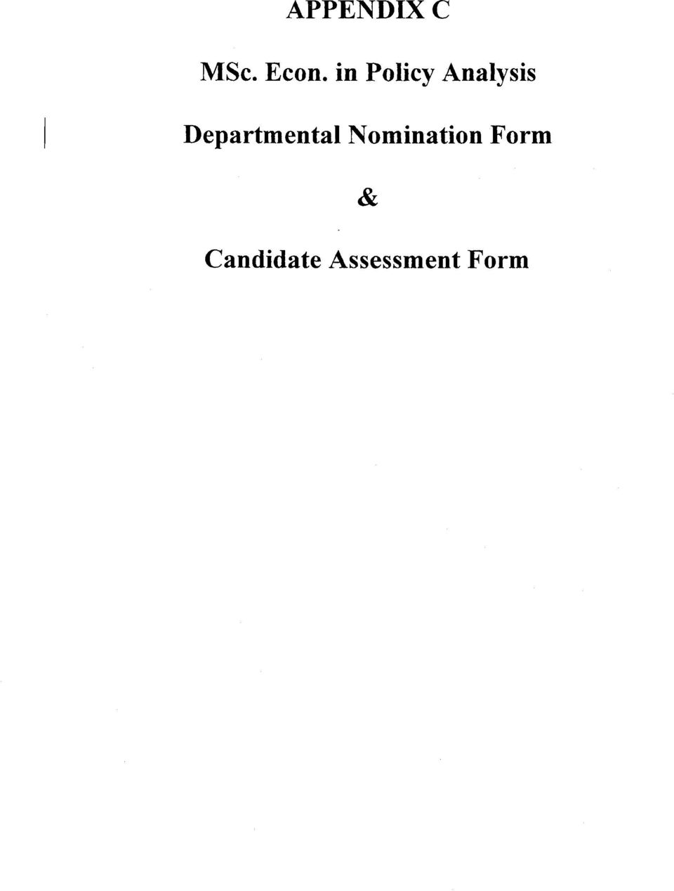 Departmental Nomination
