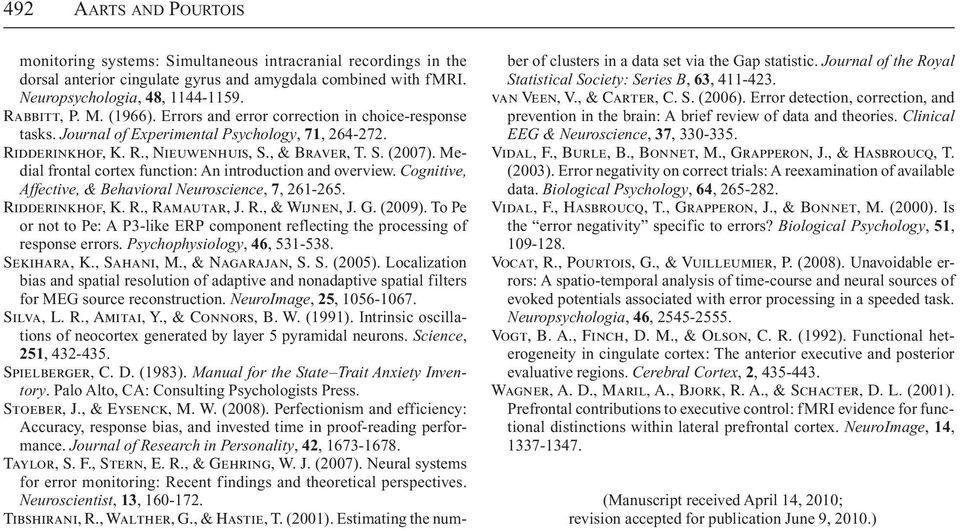 Medial frontal cortex function: An introduction and overview. Cognitive, Affective, & Behavioral Neuroscience, 7, 261-265. Ridderinkhof, K. R., Ramautar, J. R., & Wijnen, J. G. (2009).