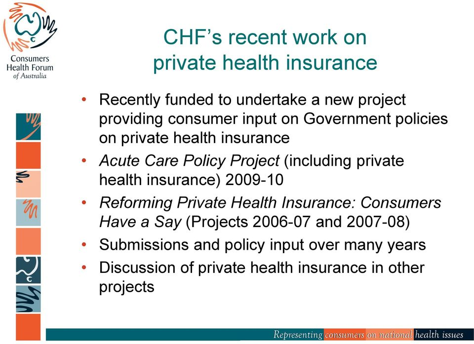 private health insurance) 2009-10 Reforming Private Health Insurance: Consumers Have a Say (Projects