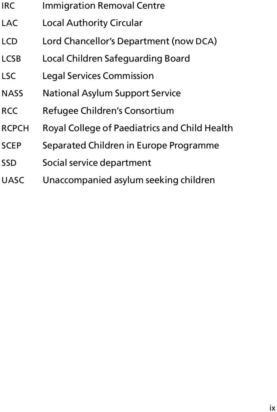 National Asylum Support Service Refugee Children s Consortium Royal College of Paediatrics and Child