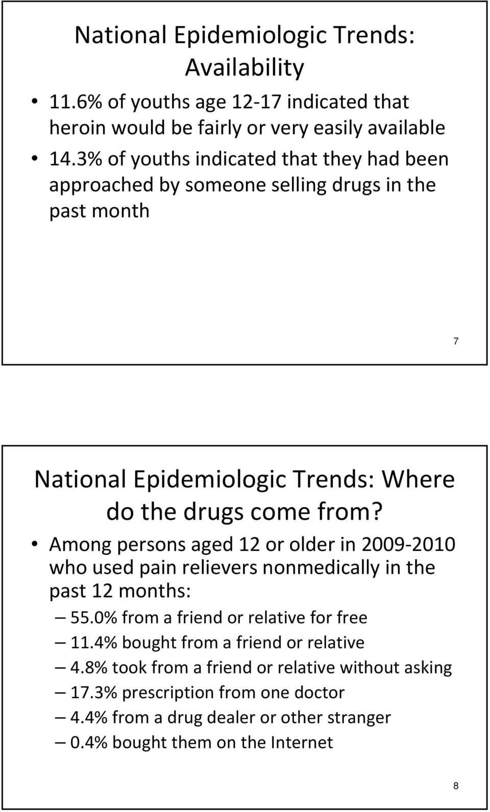 Among persons aged 12 or older in 2009 2010 who used pain relievers nonmedically in the past 12 months: 55.0% from a friend or relative for free 11.