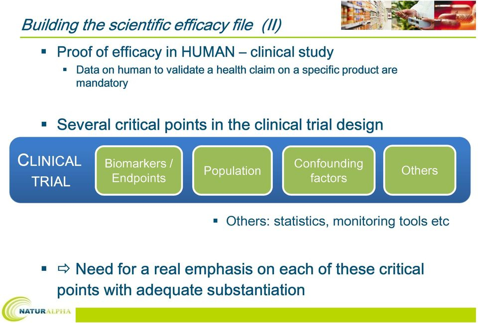 design CLINICAL LINICAL Biomarkers / Confounding Population Endpoints factors TRIAL Others Others: