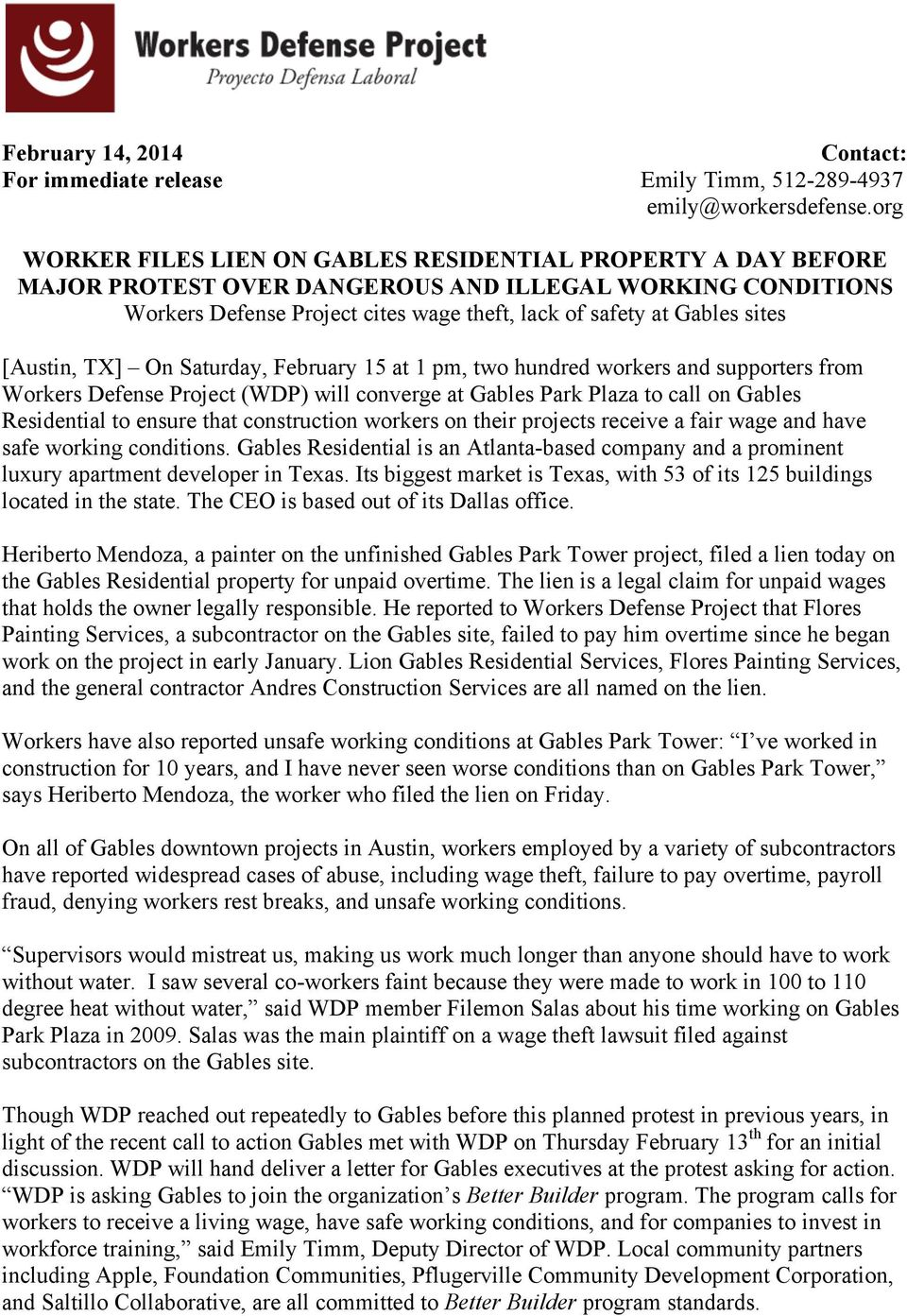 [Austin, TX] On Saturday, February 15 at 1 pm, two hundred workers and supporters from Workers Defense Project (WDP) will converge at Gables Park Plaza to call on Gables Residential to ensure that
