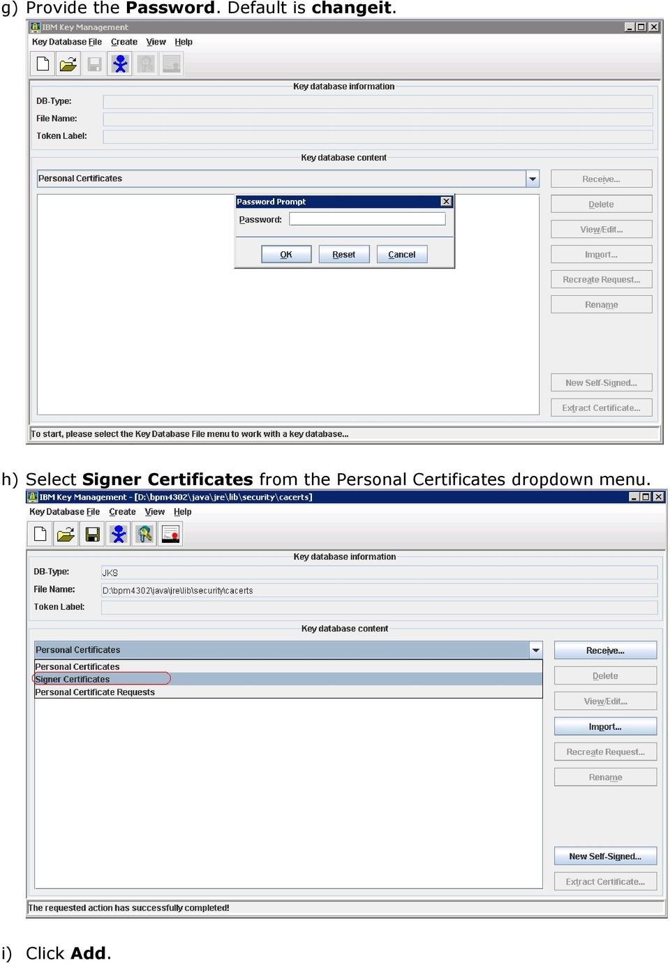 h) Select Signer Certificates