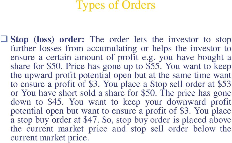 You place a Stop sell order at $53 or You have short sold a share for $50. The price has gone down to $45.