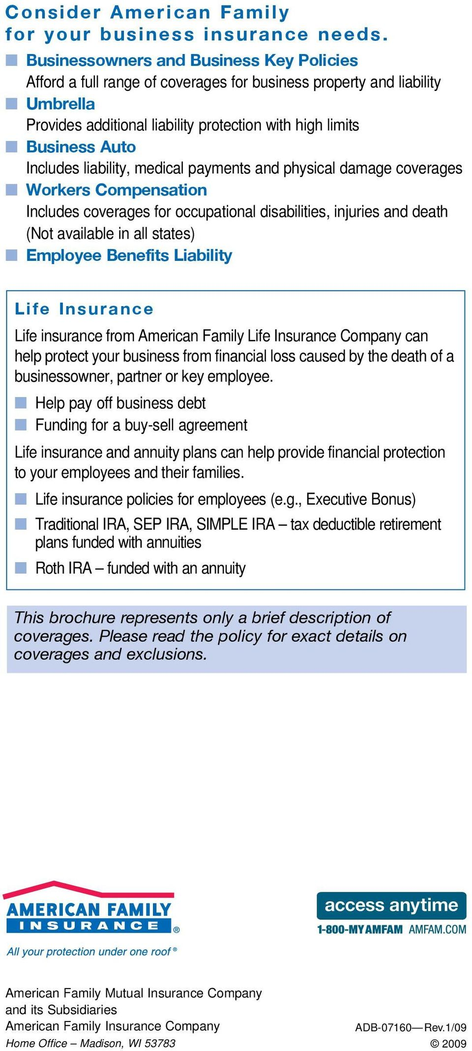 Includes liability, medical payments and physical damage coverages n Workers Compensation Includes coverages for occupational disabilities, injuries and death (Not available in all states) n Employee