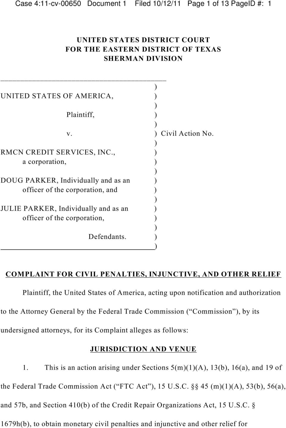, a corporation, DOUG PARKER, Individually and as an officer of the corporation, and JULIE PARKER, Individually and as an officer of the corporation, Defendants.