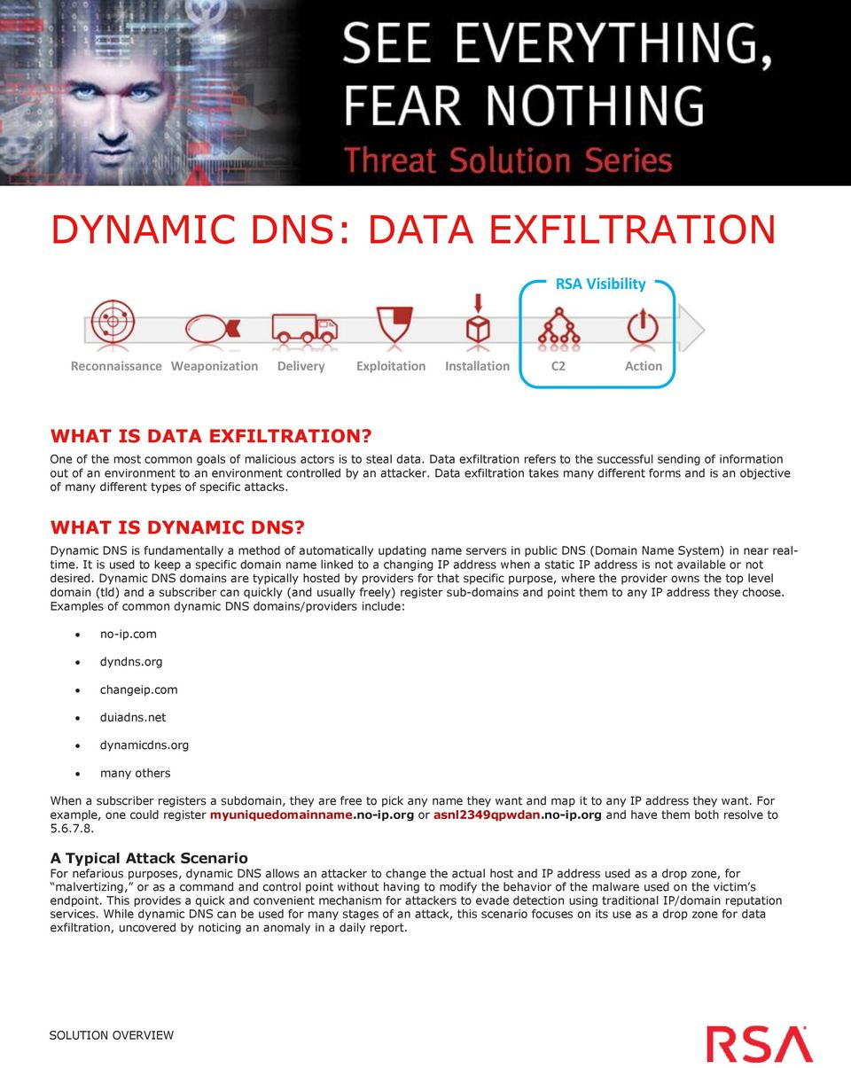 Data exfiltration takes many different forms and is an objective of many different types of specific attacks. WHAT IS DYNAMIC DNS?