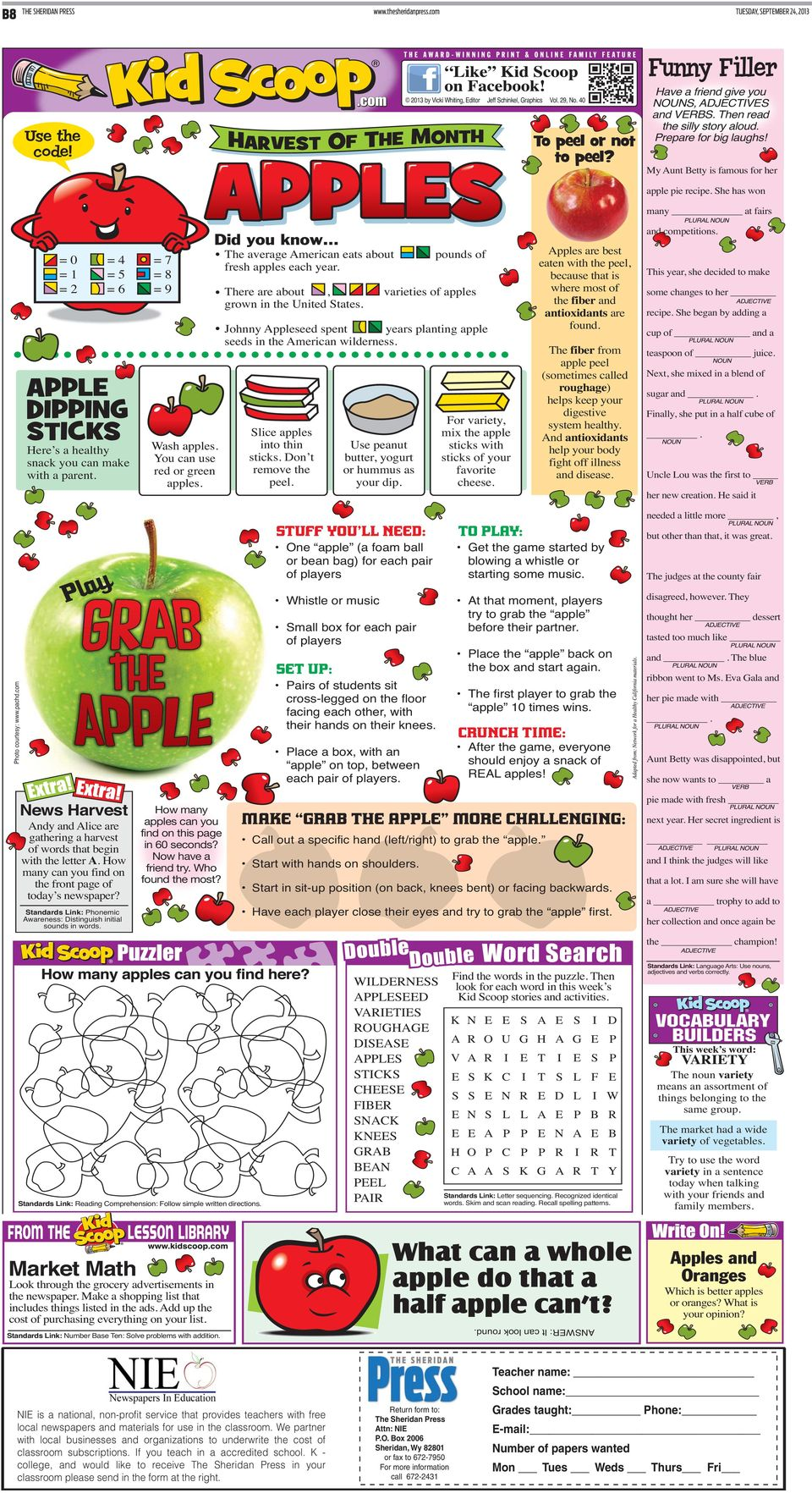 = 0 = 1 = 2 = 4 = 5 = 6 Here s a healthy snack you can make with a parent. = 7 = 8 = 9 Wash apples. You can use red or green apples. The average merican eats about fresh apples each year.