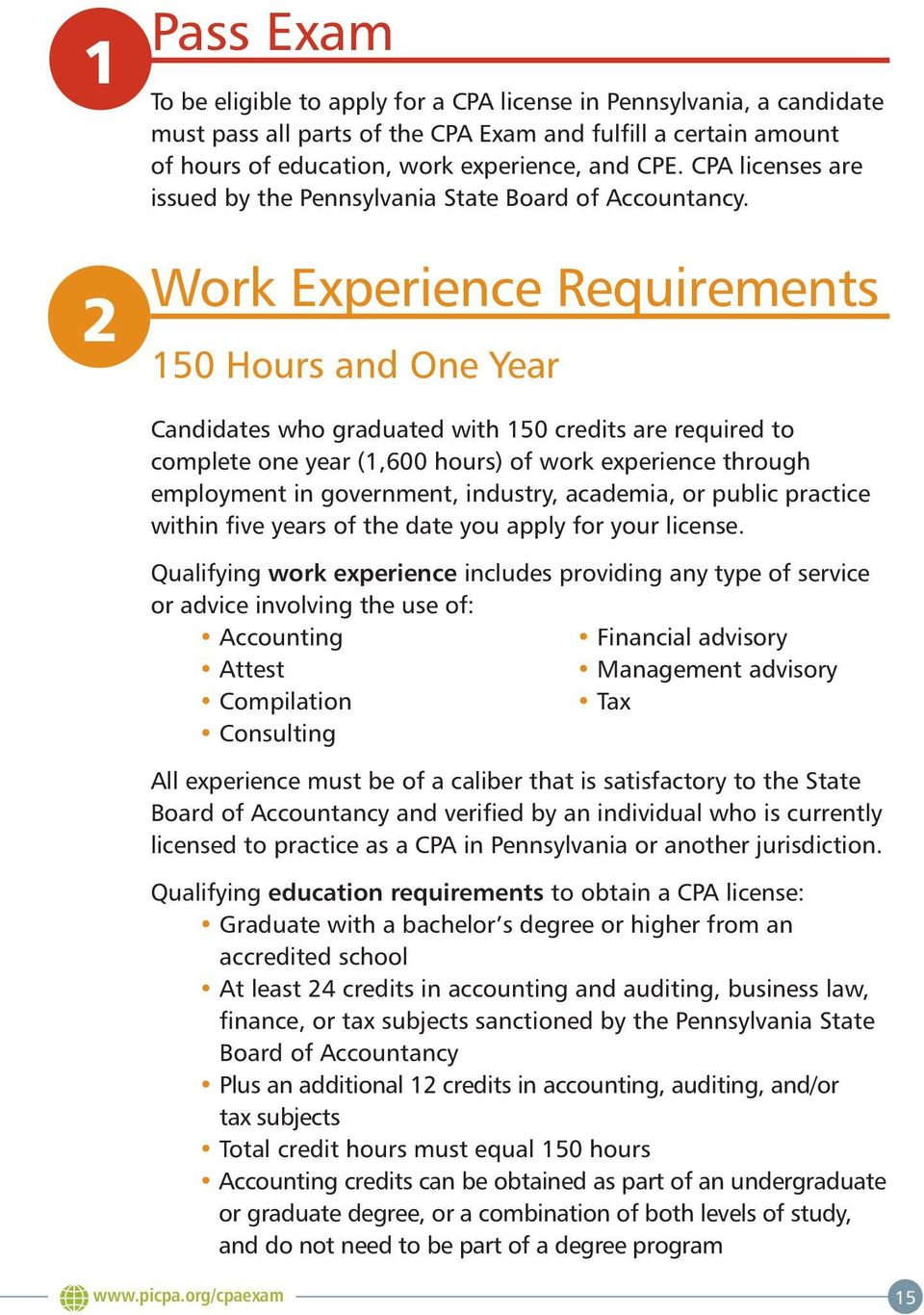 Work Experience Requirements 150 Hours and One Year Candidates who graduated with 150 credits are required to complete one year (1,600 hours) of work experience through employment in government,