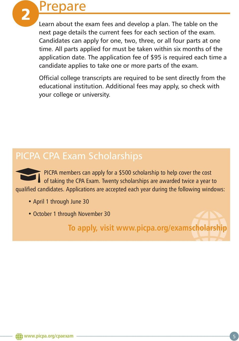The application fee of $95 is required each time a candidate applies to take one or more parts of the exam.
