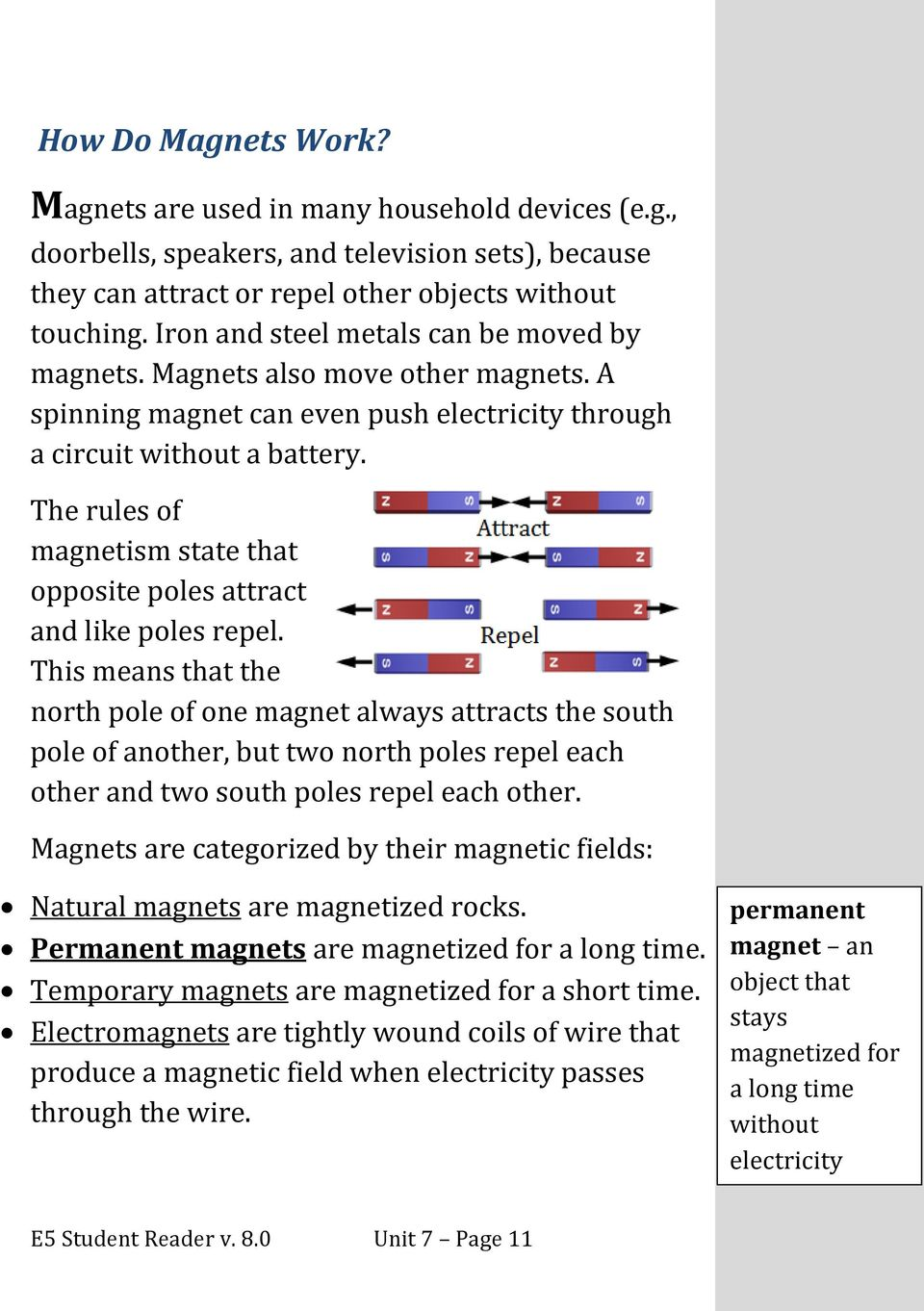 The rules of magnetism state that opposite poles attract and like poles repel.