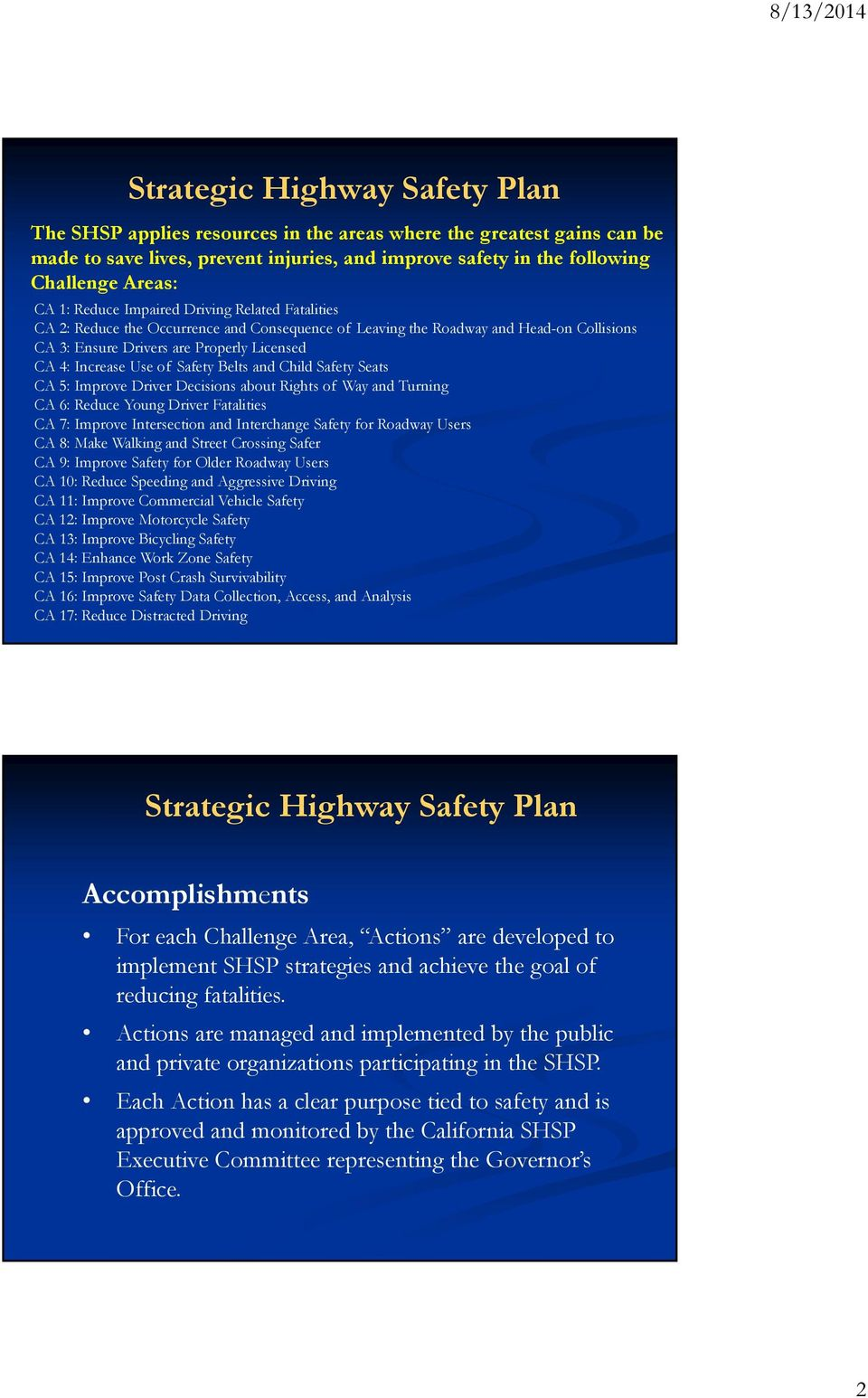 Safety Belts and Child Safety Seats CA 5: Improve Driver Decisions about Rights of Way and Turning CA 6: Reduce Young Driver Fatalities CA 7: Improve Intersection and Interchange Safety for Roadway