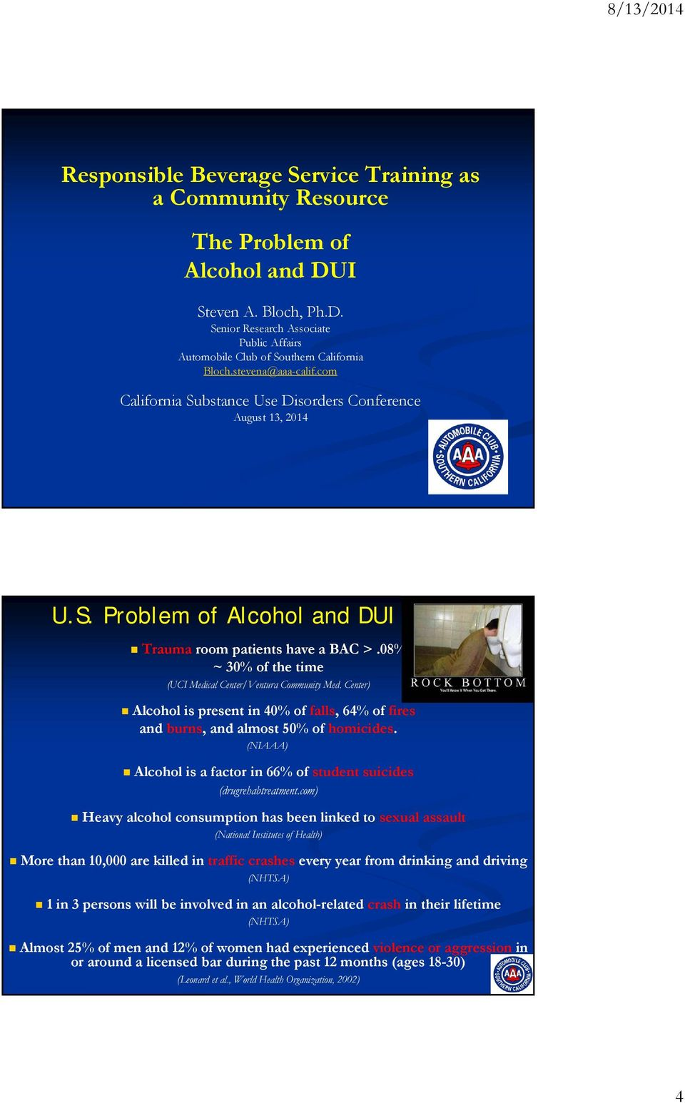 08% ~ 30% of the time (UCI Medical Center/Ventura Community Med. Center) Alcohol is present in 40% of falls, 64% of fires and burns, and almost 50% of homicides.