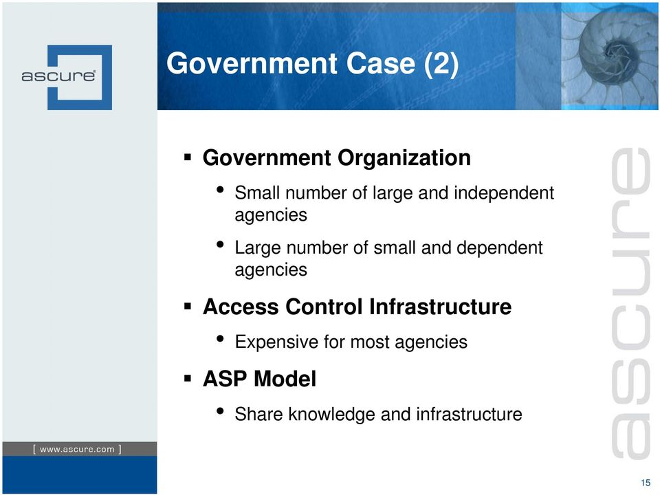 dependent agencies Access Control Infrastructure Expensive