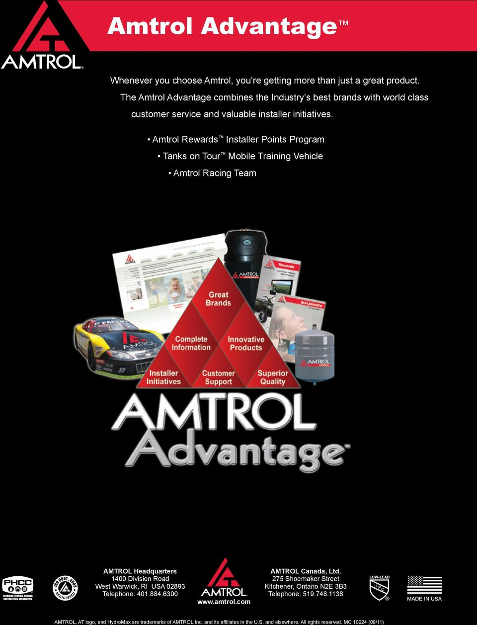 Amtrol Rewards Installer Points Program Tanks on Tour Mobile Training Vehicle Amtrol Racing Team AMTROL Headquarters 1400 Division Road West Warwick, RI USA 02893