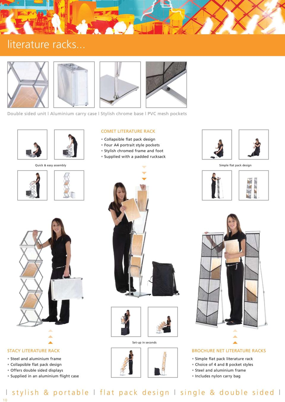 portrait style pockets Stylish chromed frame and foot Supplied with a padded rucksack Simple flat pack design STACY LITERATURE RACK Steel and aluminium frame