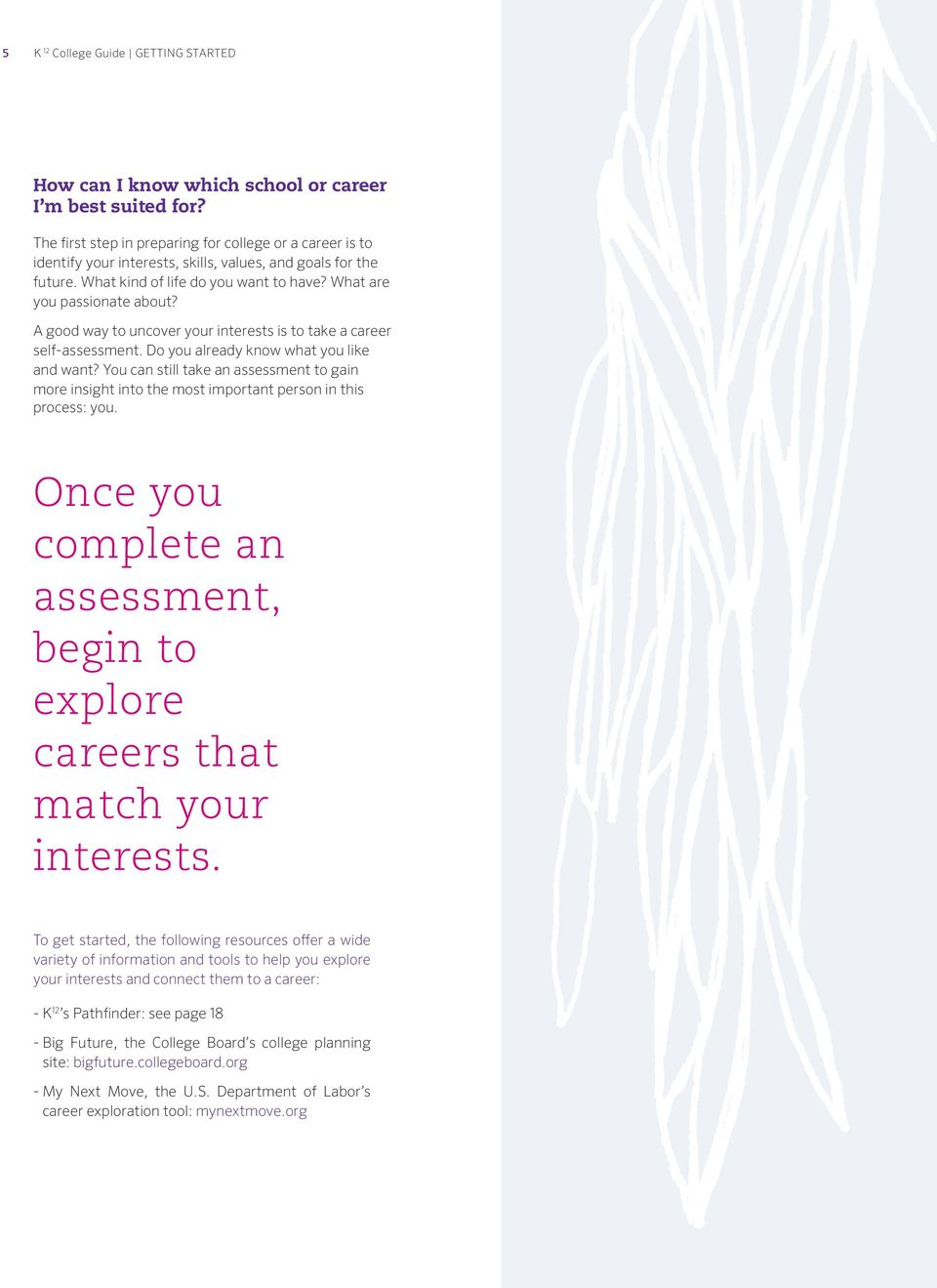 A good way to uncover your interests is to take a career self-assessment. Do you already know what you like and want?