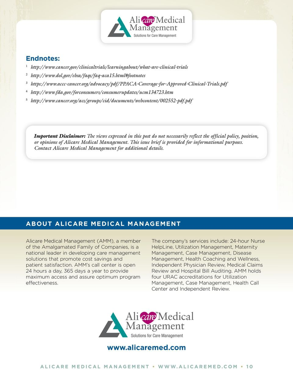pdf Important Disclaimer: The views expressed in this post do not necessarily reflect the official policy, position, or opinions of Alicare Medical Management.