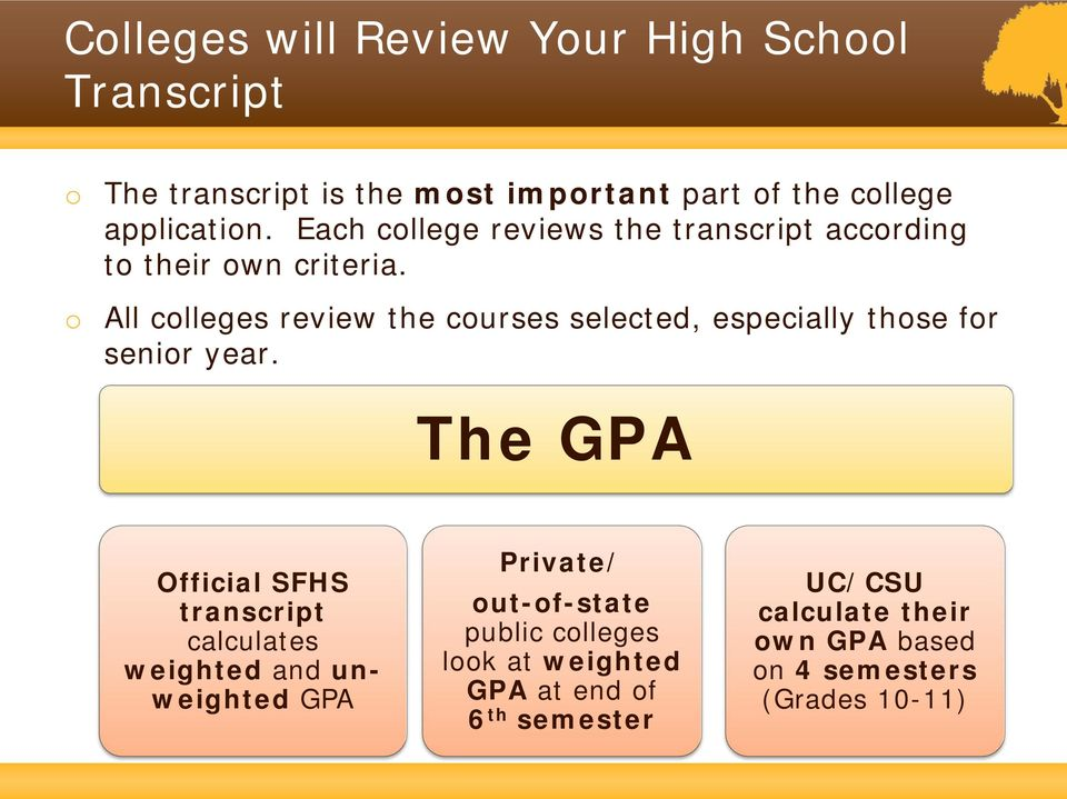 o All colleges review the courses selected, especially those for senior year.