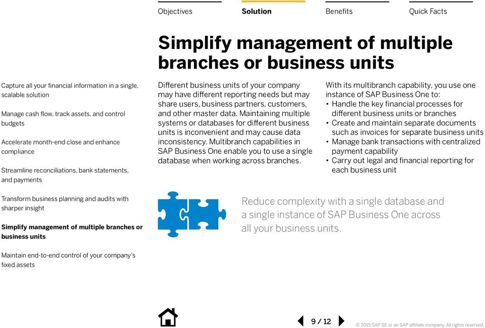 Multibranch capabilities in SAP Business One enable you to use a single database when working across branches.