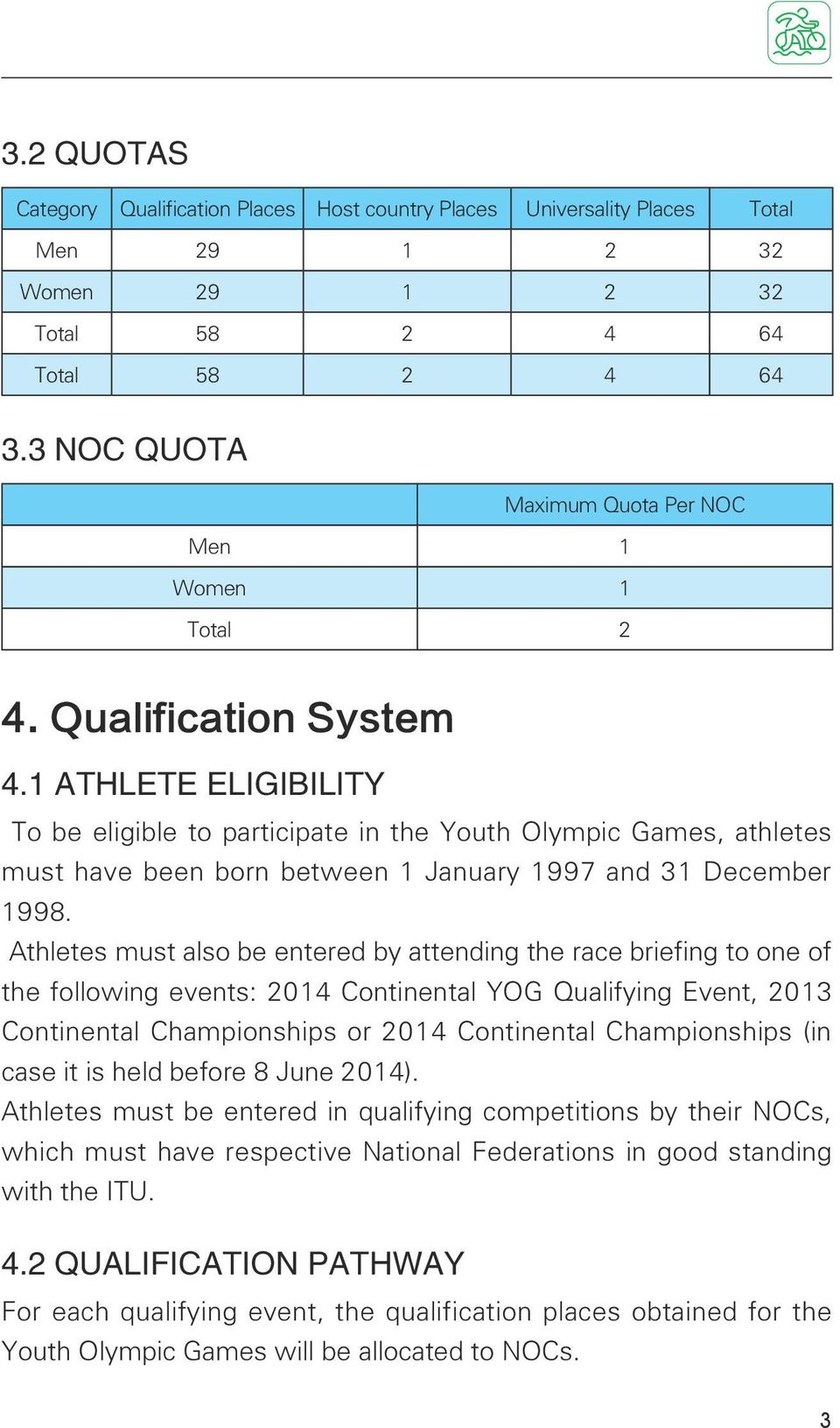 1 ATHLETE ELIGIBILITY To be eligible to participate in the Youth Olympic Games, athletes must have been born between 1 January 1997 and 31 December 1998.