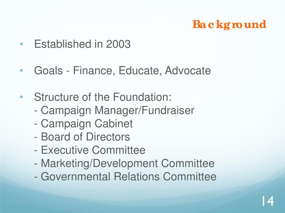Manager/Fundraiser - Campaign Cabinet - Board of Directors -