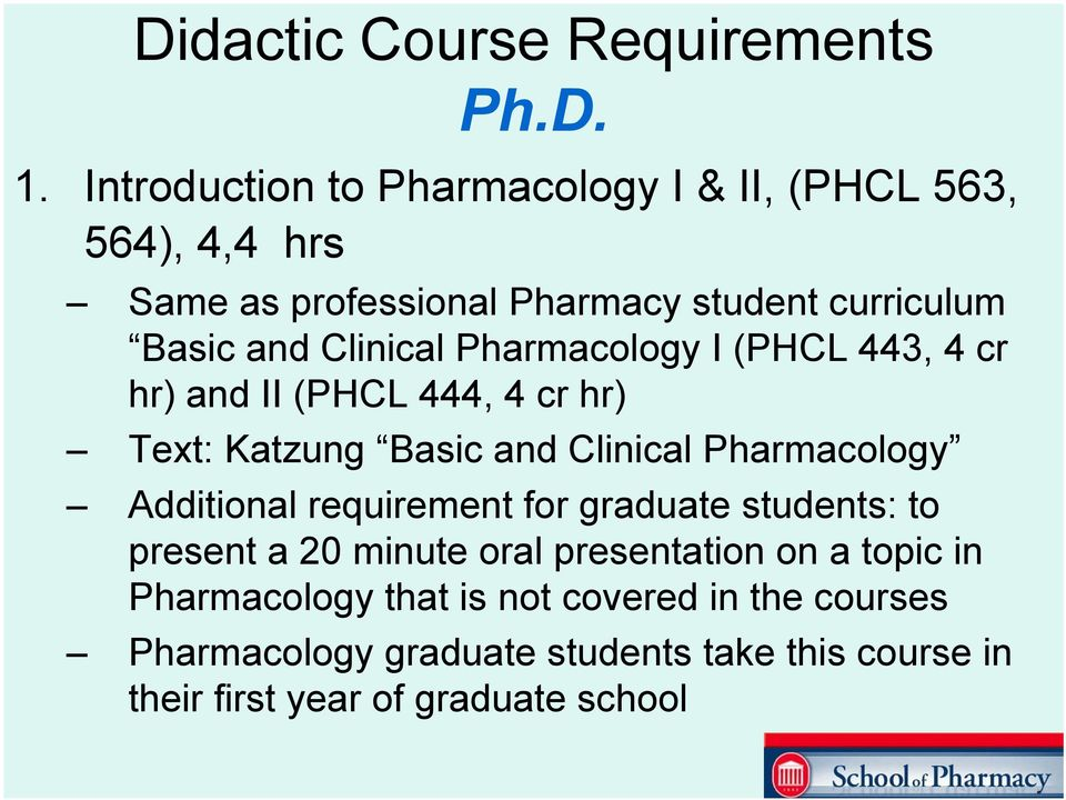 Clinical Pharmacology I (PHCL 443, 4 cr hr) and II (PHCL 444, 4 cr hr) Text: Katzung Basic and Clinical Pharmacology