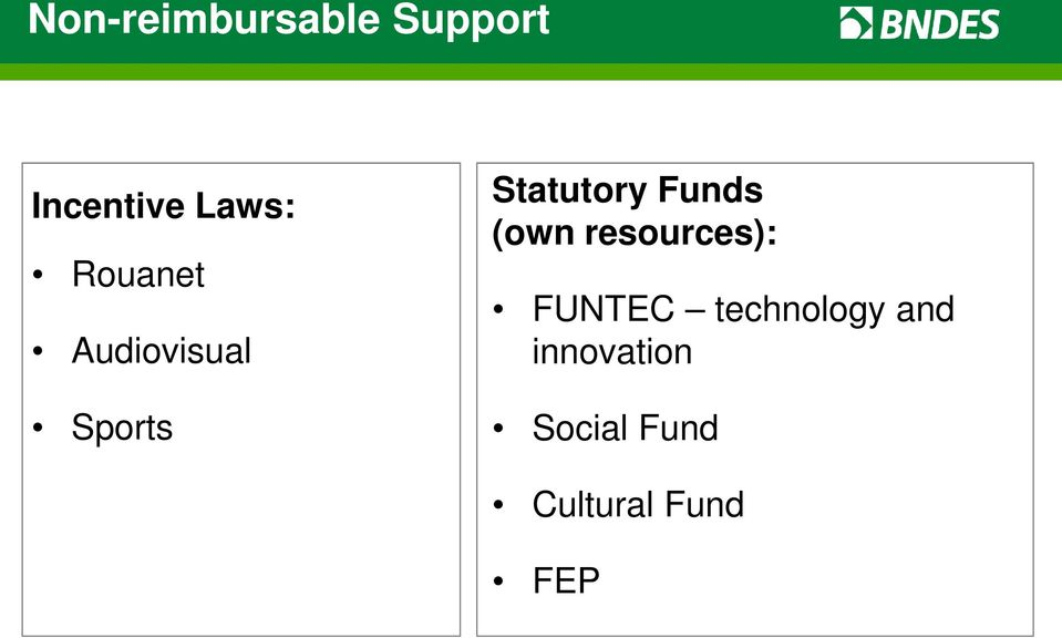 Funds (own resources): FUNTEC technology
