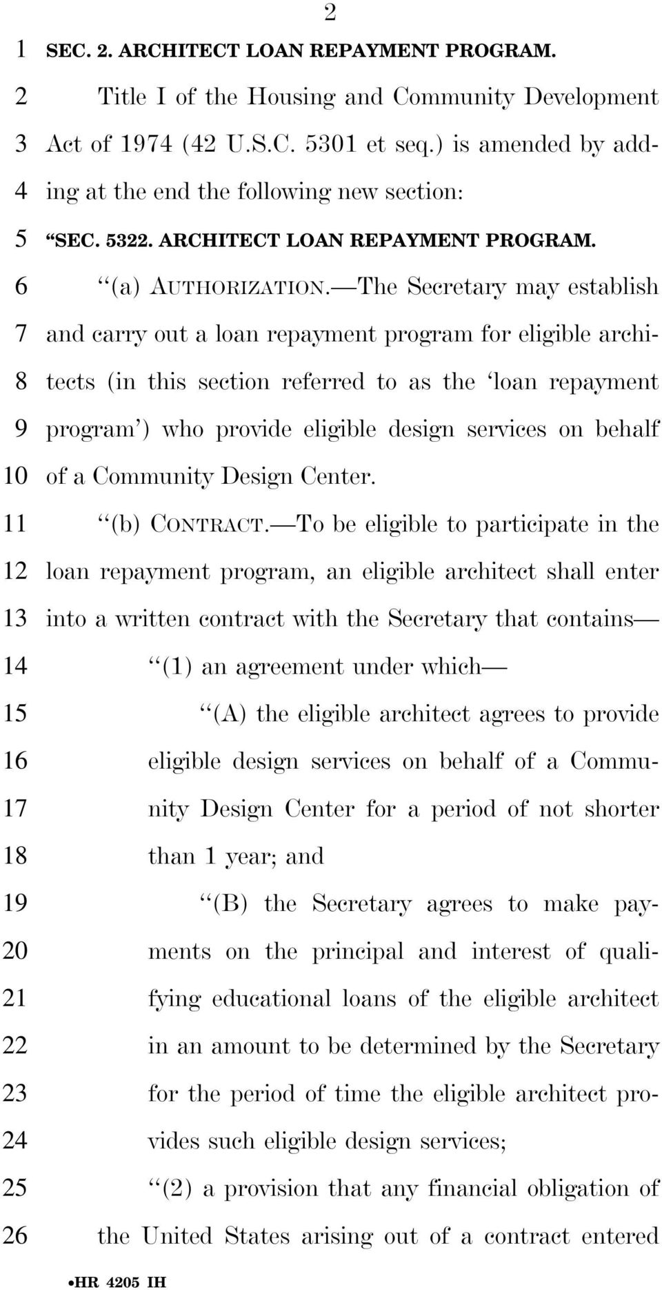 ) is amended by adding at the end the following new section: SEC. 5322. ARCHITECT LOAN REPAYMENT PROGRAM. (a) AUTHORIZATION.