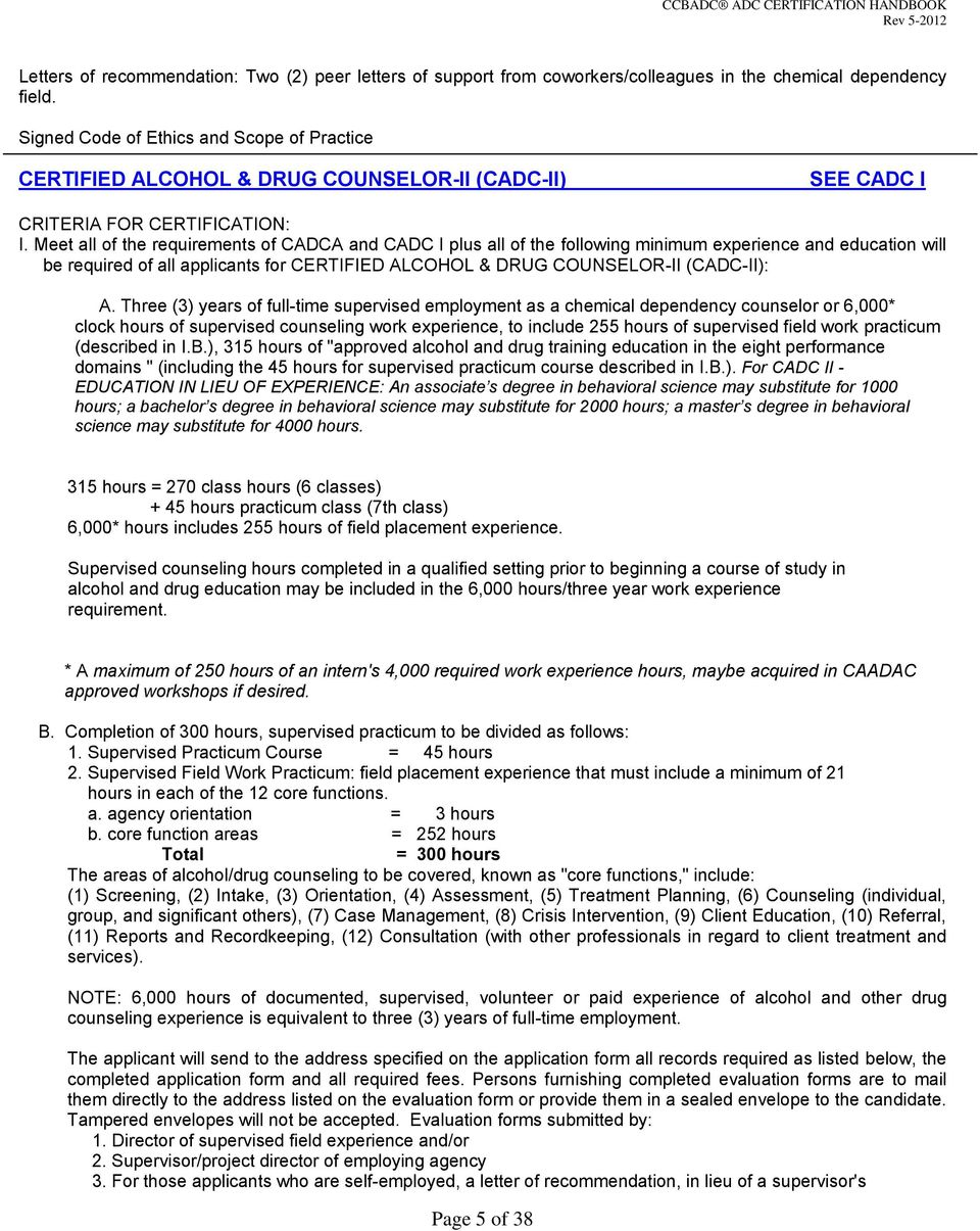 California Certification Board Of Alcohol Drug Counselors Ccbadc Pdf