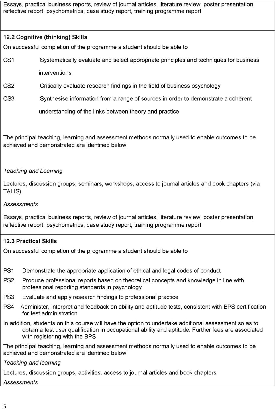 interventions CS2 CS3 Critically evaluate research findings in the field of business psychology Synthesise information from a range of sources in order to demonstrate a coherent understanding of the