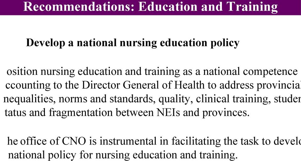 education policy office of CNO is