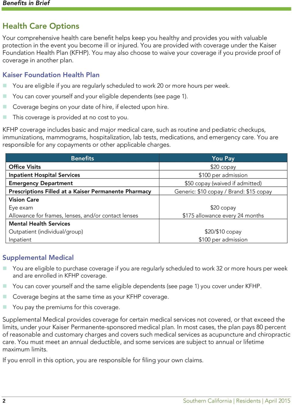 Kaiser Foundation Health Plan You are eligible if you are regularly scheduled to work 20 or more hours per week. You can cover yourself and your eligible dependents (see page 1).