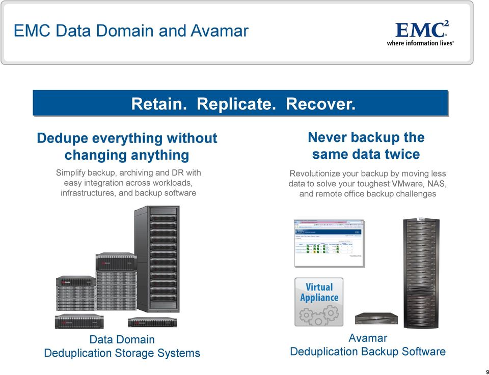 workloads, infrastructures, and backup software Never backup the same data twice Revolutionize your backup by