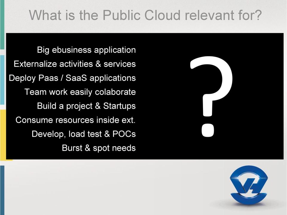 activities & services Deploy Paas / SaaS applications Team work easily colaborate Build