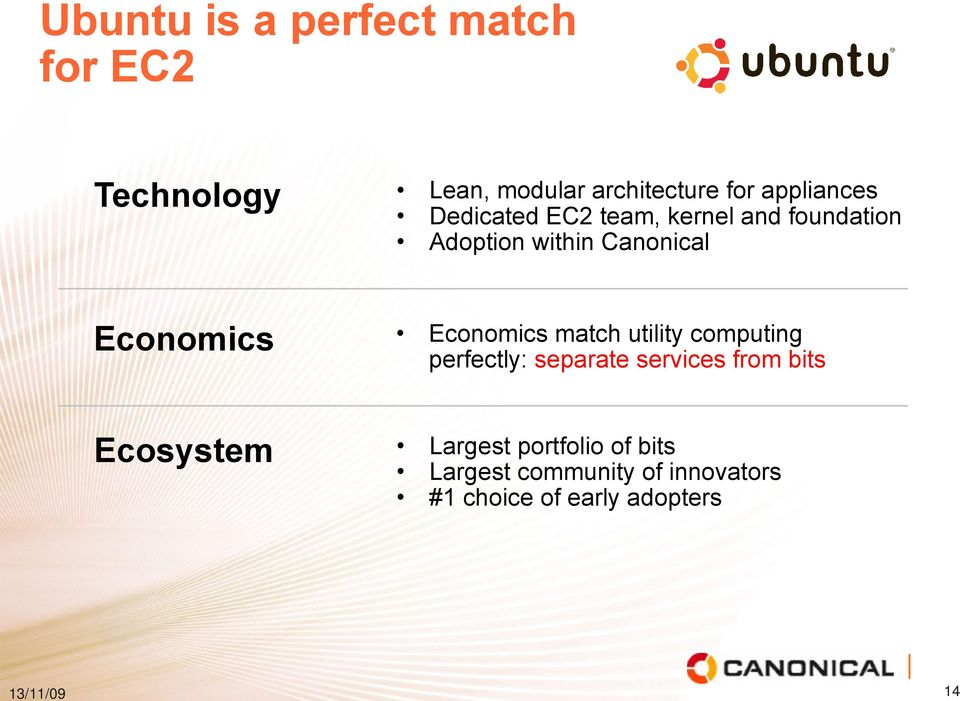 Economics Economics match utility computing perfectly: separate services from bits