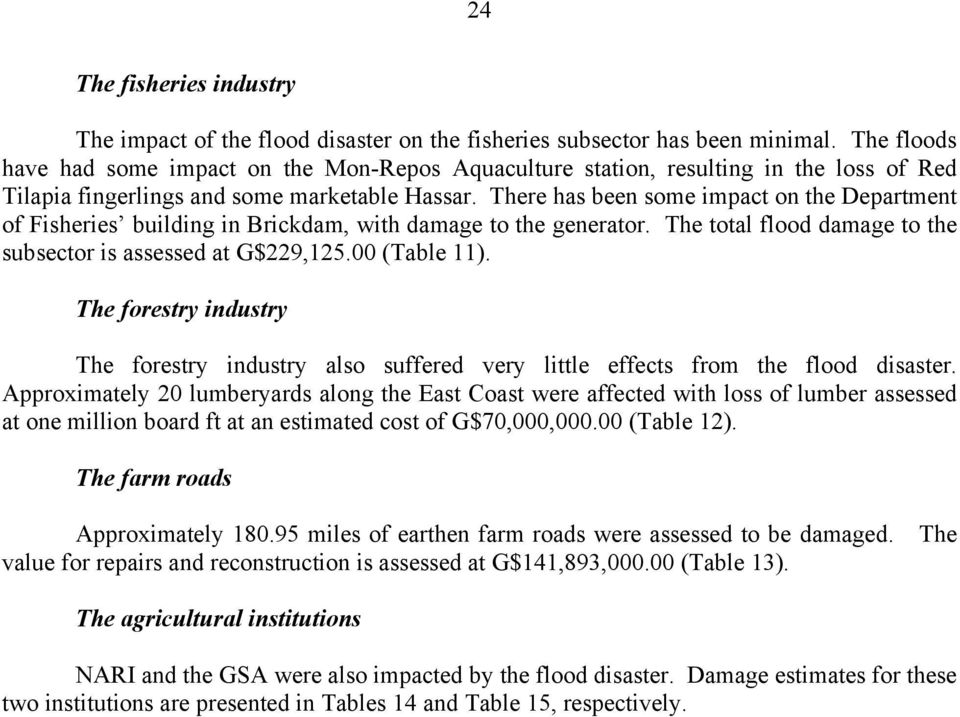 There has been some impact on the Department of Fisheries building in Brickdam, with damage to the generator. The total flood damage to the subsector is assessed at G$229,125.00 (Table 11).