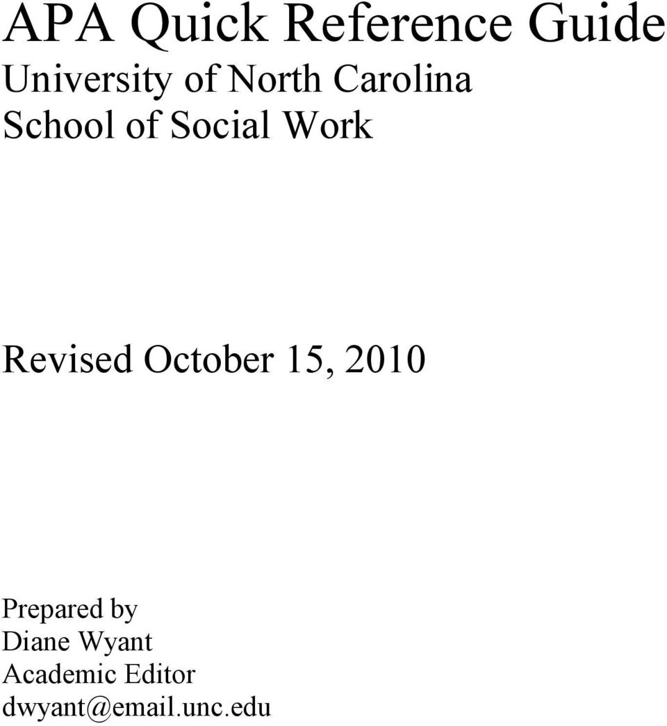 Revised October 15, 2010 Prepared by